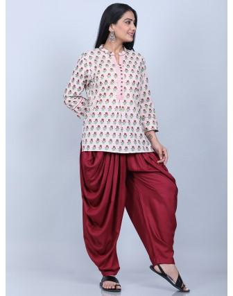 Suti Women's Printed Top With Dhoti ,PEACH