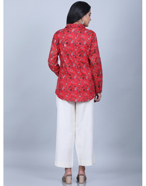 Suti Women's Voile Printed Shirt With Culottes, RED