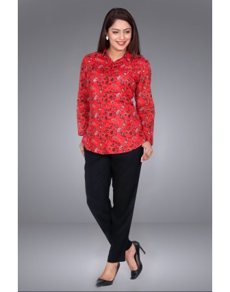 SUTI WOMENS COTTON VOILE PRINTED SHIRT TOP N TUNIC, RED