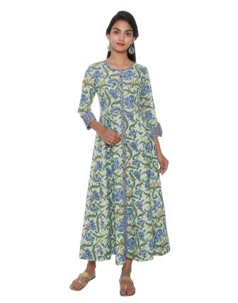 SUTI WOMENS COTTON CAMBRIC FLOWRAL PRINT DRESS, GREEN