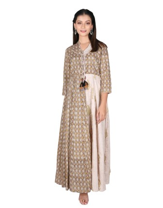 SUTI WOMENS COTTON PASTEL MUGHAL PRINT DRESS, OLIVE GREEN