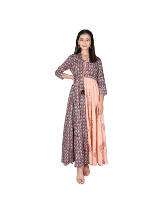 SUTI WOMENS COTTON PASTEL MUGHAL PRINT DRESS, PEACH GRAY