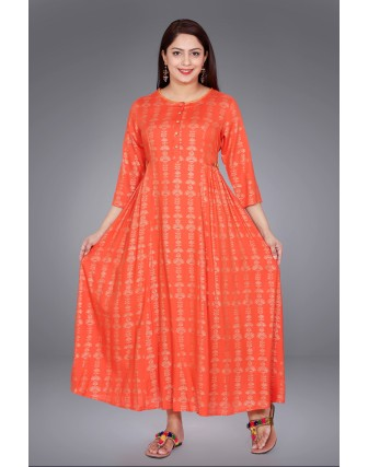 SUTI WOMENS RAYON SLUB SLUB BLOCK PRINT  DRESS, ORANGE