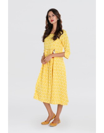 WOMENS RAYON SLUB FLAIRED DRESS, GOLDEN YELLOW