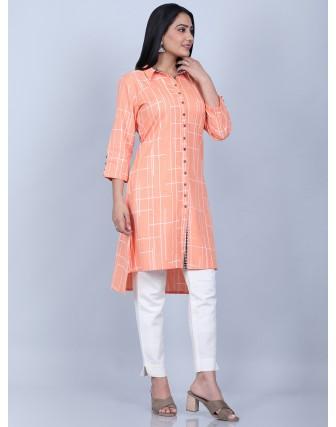 Suti Women's Printed Cotton Flex Tunic Slim Pant, PEACH