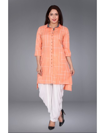 SUTI WOMENS COTTON PRINTED FLEX  TOP N TUNIC, PEACH