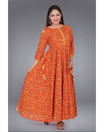SUTI WOMENS COTTON KALIDAR PRINTED DRESS, ORANGE