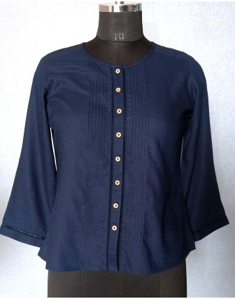 SUTI WOMENS RAYON WITH  TOP N TUNIC, NAVY BLUE