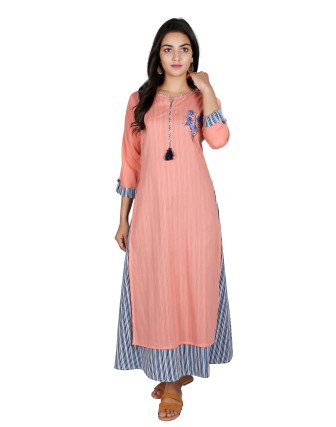 SUTI WOMENS COTTON VOILE EMBOIDERED DRESS, PEACH