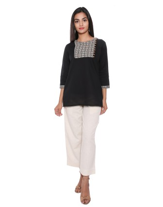 SUTI WOMENS COTTON CAMBRIC WITH TOP N TUNIC, BLACK