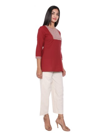 SUTI WOMENS COTTON CAMBRIC WITH TOP N TUNIC, MAROON