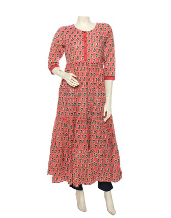 SUTI WOMENS COTTON CAMBRIC PRINTED CRUSHED DRESS, CORAL