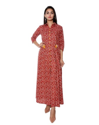 SUTI WOMENS COTTON STYLISHED CAMBRIC PRINTED DRESS, BAGRU RED