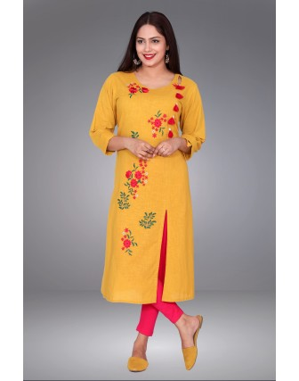SUTI WOMENS COTTON EMBOIDERED FRONT SLIT OPEN KURTI, MUSTERED