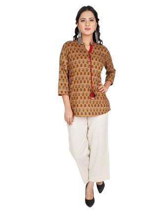 Suti Womens Cotton Regular Fit Top, Ecru Olive