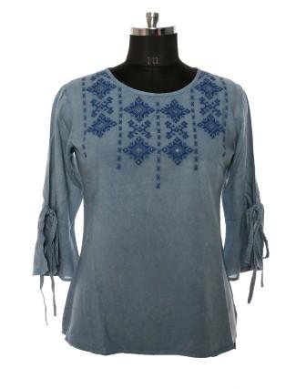 Suti Womens Rayon Staple Regular Fit Top, Washed Denim