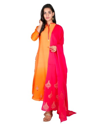 SUTI WOMENS CHANDERI EMBROIDERED A LINE COMBO, ORANGE