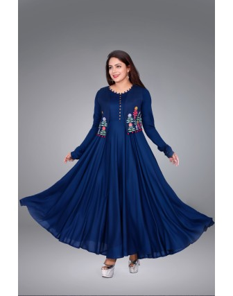 Suti Womens Rayon Staple Dress, Navy Blue