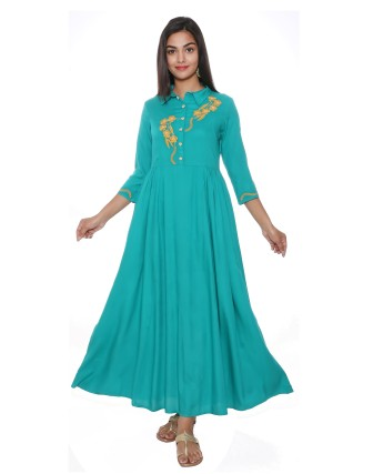 Suti Womens Rayon Staple P Line Fit Dress, Teal