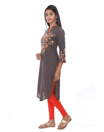 Suti Womens Cotton Straight Fit Kurti, Grey