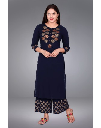 SUTI WOMENS COTTON SLUB GOLD BLOCK PRINT  COMBO, NAVY BLUE