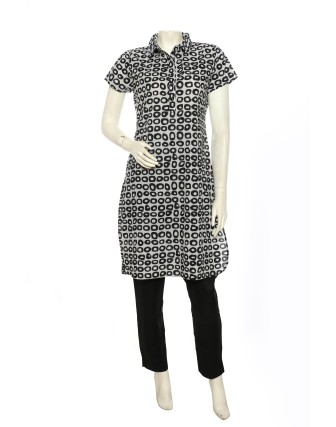 Suti Womens Cotton Regular Fit Tunic, Gray Black