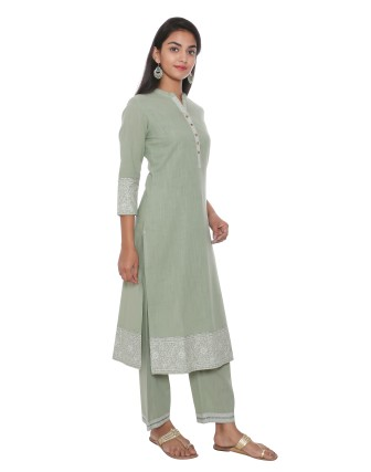 SUTI WOMENS COTTON KURTA SET WITH COMBO, FAIR GREEN