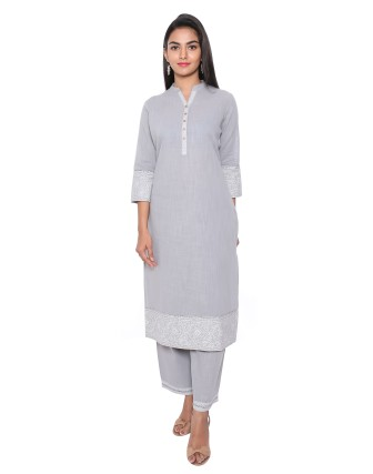 SUTI WOMENS COTTON KURTA SET WITH COMBO, NATURAL GREY