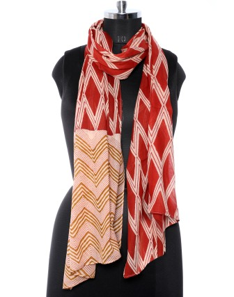 Suti Womens Cotton Printed Stole, Rust