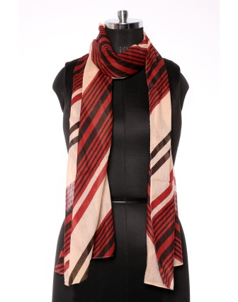 Suti Womens Cotton Printed Stole, Black Red