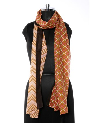 Suti Womens Cotton Printed Stole, Olive