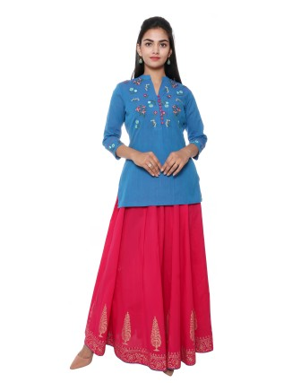 Suti Womens Mangalgiri Regular Fit Top, Blue Turq