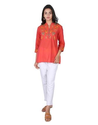 Suti Womens Mangalgiri Regular Fit Top, Orange