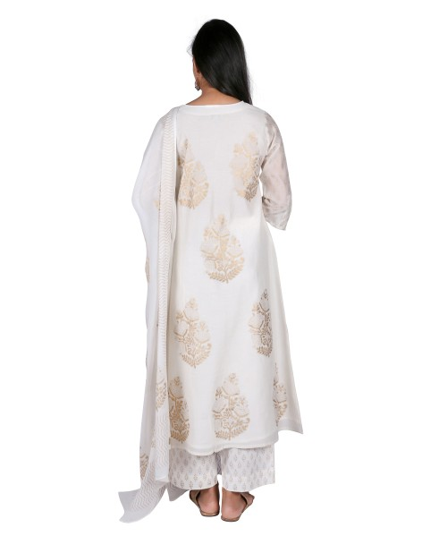 SUTI WOMENS CHANDERI CHANDERI GOLD PRINTED KURTA SET, WHITE