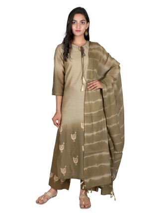Suti Womens Chanderi Straight Fit Combo, Moss Green