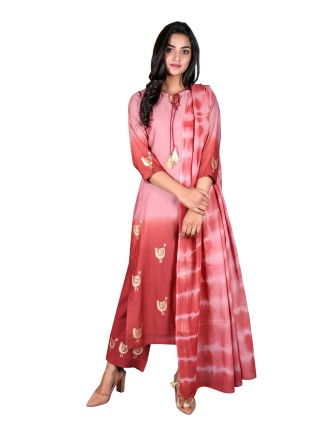 Suti Womens Chanderi Straight Fit Combo, Rosewood Red