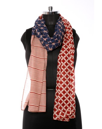 Suti Womens Cotton Printed Stole, Blue Red