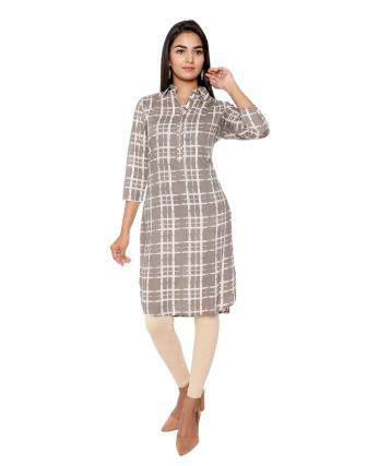 CHECKS PRINTED TUNIC, MOON MIST