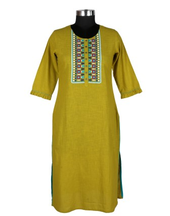 Suti Womens Cotton Straight Fit Kurti, Olive Green