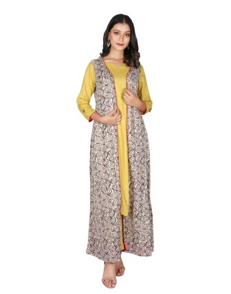 SUTI WOMENS RAYON STAPLE KURTA SET WITH COMBO, MUSTERED