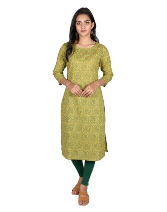 Suti Womens Cotton Straight Fit Kurti, Citronelle