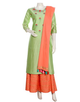 SUTI WOMENS CHANDERI FESTIVE EMBROIDERED CHANDERI COMBO, GREEN