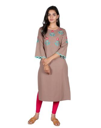 Suti Womens Cotton Straight Fit Kurti, Taupe Grey