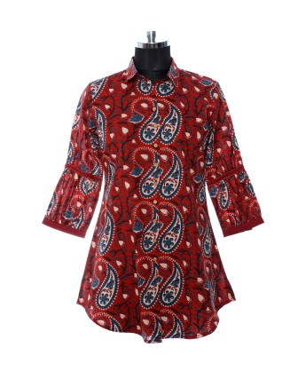 Suti Womens Cotton Regular Fit Tunic, Bagru Red