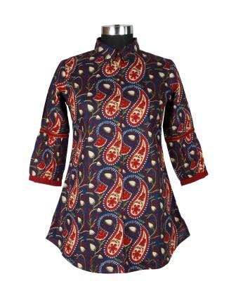 Suti Womens Cotton Regular Fit Tunic, Indigo Blue