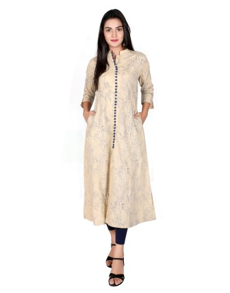 Suti Womens Cotton A Line Fit Kurti, Fawn