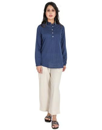 Suti Womens Cotton Slim Fit Top, Navy Blue