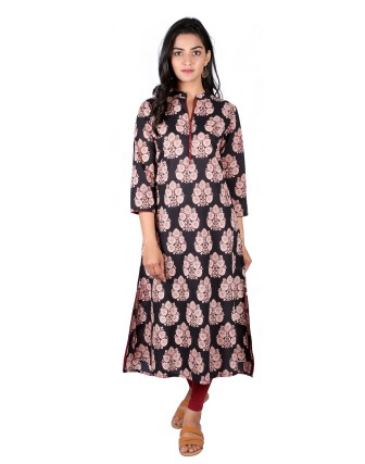 Suti Womens Cotton A Line Fit Kurti, Black