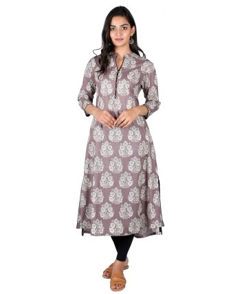 Suti Womens Cotton A Line Fit Kurti, Grey