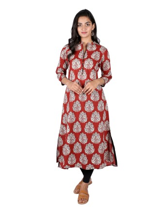 Suti Womens Cotton A Line Fit Kurti, Maroon